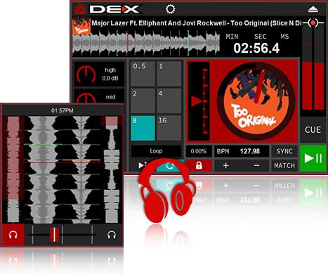 DEX 3 RED DJ Software Transport Controls