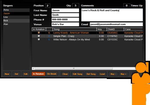 Karaoki Singer Data Screen
