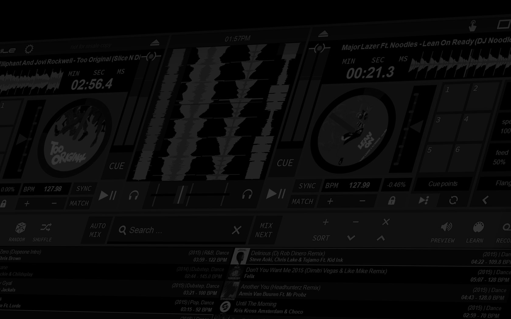 RED Mobile 3 DJ software background image