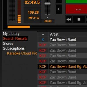 Karaoke Software Search Results Tab