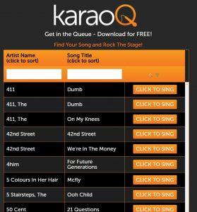 karaoQ singer queue screen