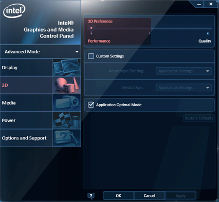 Intel Graphics 3D preferences