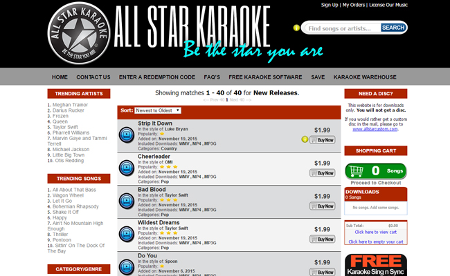 All Star Karaoke Download Store