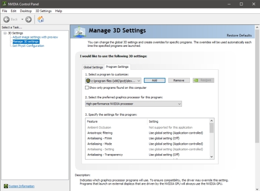 Select DEX 3 Under 3D settings