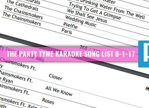 Party Tyme Karaoke song List 8-1-17