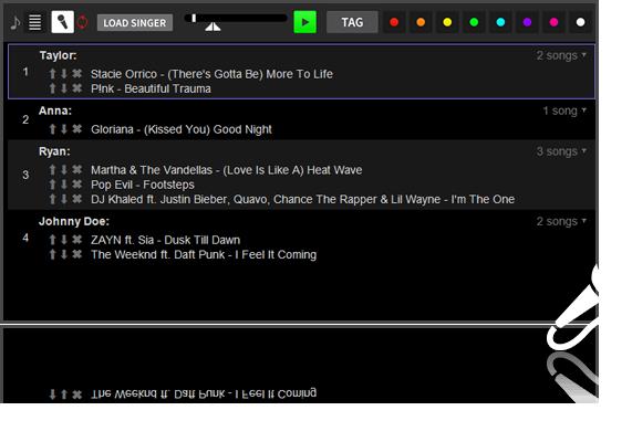 Karaoke Singer Rotation List in DEX 3 DJ Software